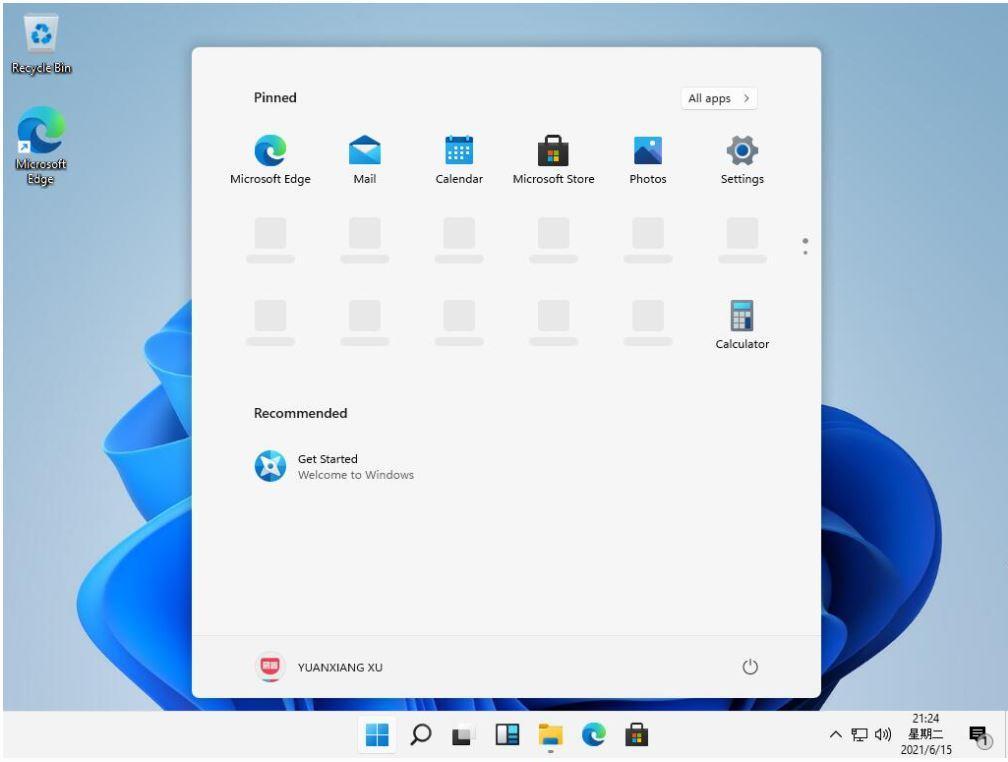 windows11 leak start menu